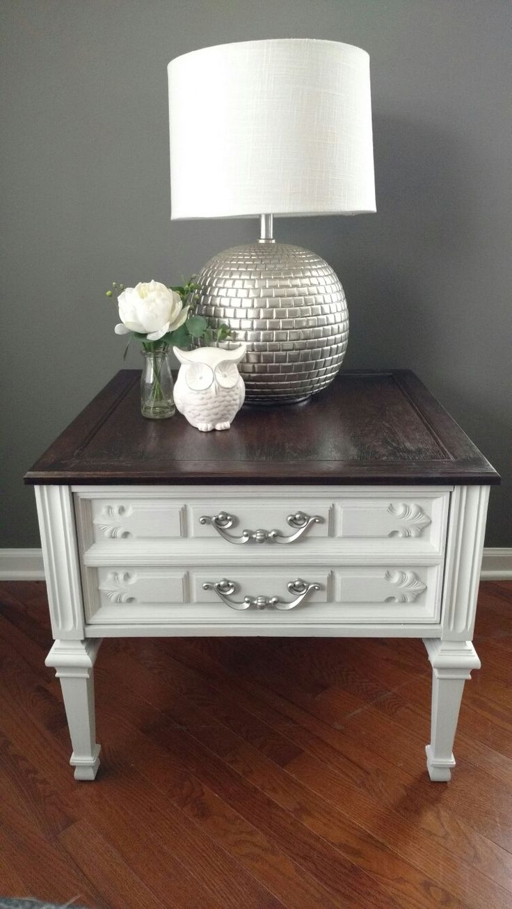 Painted end table linen white chalk paint and dark stained top  refinished furniture diy in
