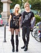 Blonde Harajuku Duo in Dark Fashion w/ Studded Bag, Skulls & Boots