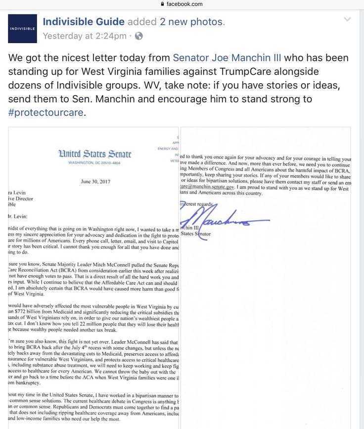 WV's Senator Joe Manchin III - defending his constituents against trump are.