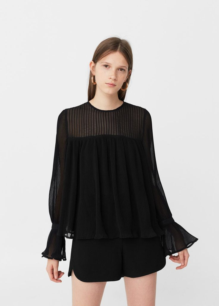 Pleated blouse -  Woman | MANGO Denmark - women's sheer blouses, ladies red blouse, ladies printed blouses *sponsored https://www.pinterest.com/blouses_blouse/ https://www.pinterest.com/explore/blouse/ https://www.pinterest.com/blouses_blouse/saree-blouse/ http://us.shein.com/Shirts-c-1733.html