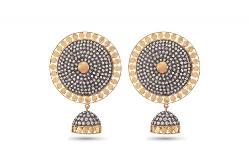 Nandhini Silver-Gold Jhumka with Diamonds