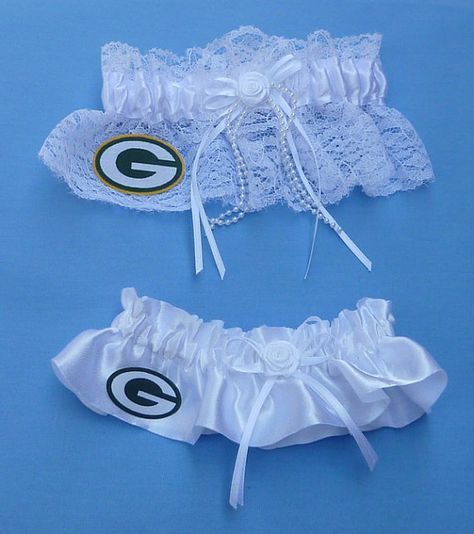 Wedding Garter Set - Green Bay Packers GB Football Themed - Lace and Satin Bridal Garters