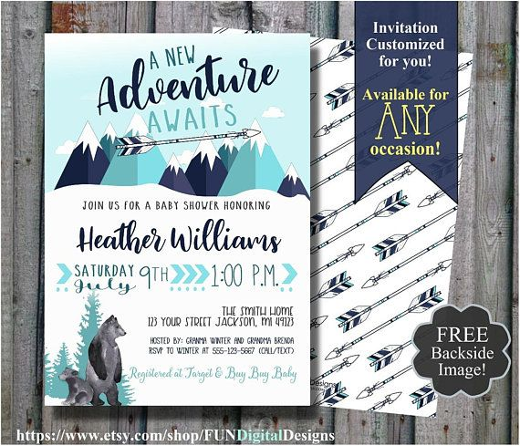This Item Is Unavailable Adventure Awaits Baby Shower Modern Baby Shower Invitations Mountain Baby Shower