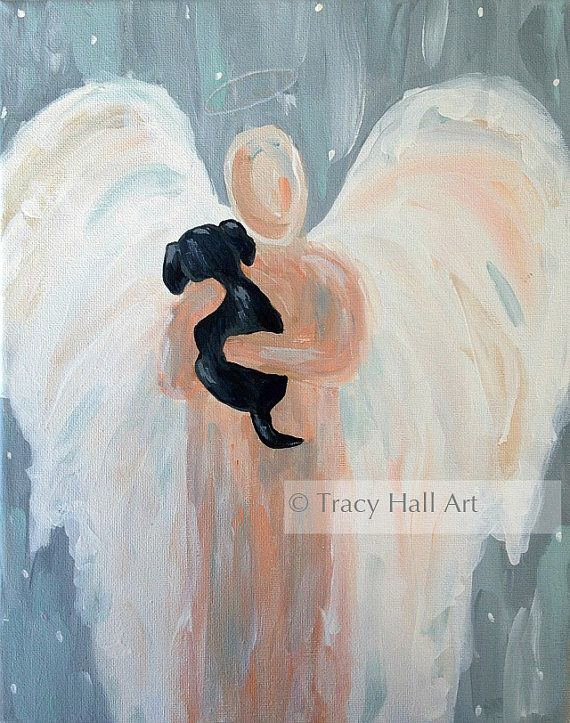 Angel Dog Painting Pet Remembrance Gift Black Lab by TracyHallArt