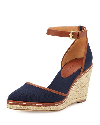 X2VJJ Charles David Keiko Closed-Toe Canvas Espadrille Wedge, Navy