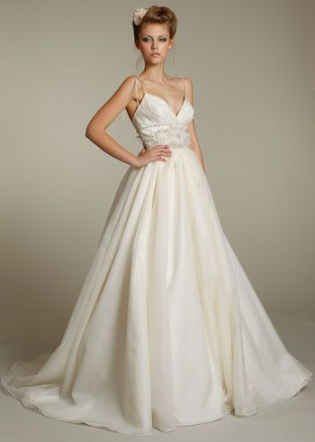 Lazaro fall 2011 collection style lz3165 ivory silk for Spaghetti strap wedding dress with pockets
