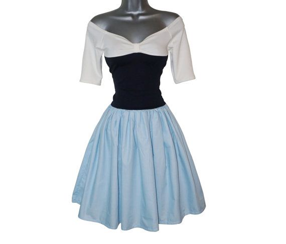 Ariel style blue dress handmade in the UK.    Inspired by Ariels day trip around Erics Kingdom, this blue dress captures the essence of her style.