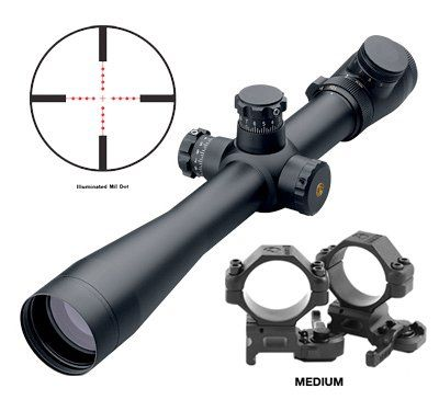 Leupold Mark 4 4.5-14x50mm LR/T M1 Illum. Mil Dot Reticle (67955) with FREE A.R.M.S. #22 Scope Rings
