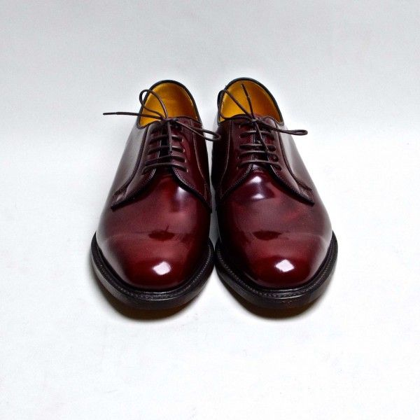 POLISHED PLAIN DERBY BURGUNDY Loake, Loak Shoes