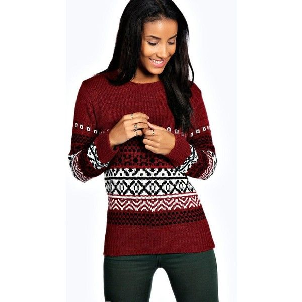 Boohoo Alice Soft Knit Fairisle Jumper ($16) ❤ liked on Polyvore featuring tops, sweaters, wine, red sequin top, marled sweater, flat top, nordic sweater and party jumpers