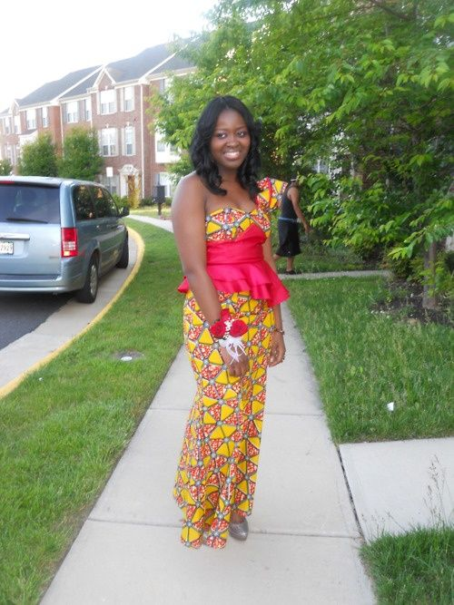 Fancy African Print and Satin African Outfit