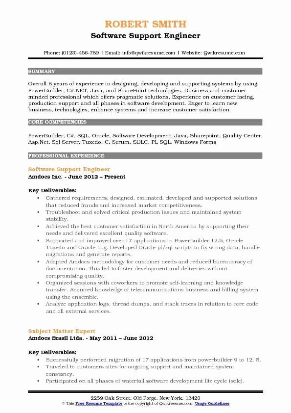 Java Production Support Resume Best Of Software Support Engineer Resume Samples