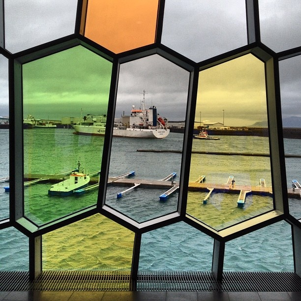 Colourful view from Harpa concert hall.