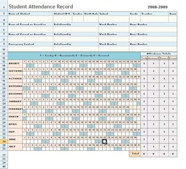 Attendance Sheet Excel Template Daily Microsoft Templates - ms word chart templates