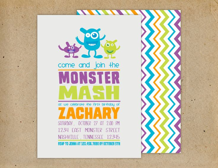 Modern Cute Monster Birthday Party Invitation with / without photo option/Ist Birthday  Monster Party/Cute Monster Birthday Party/ by PaperandPrintables on Etsy https://www.etsy.com/listing/202454931/modern-cute-monster-birthday-party