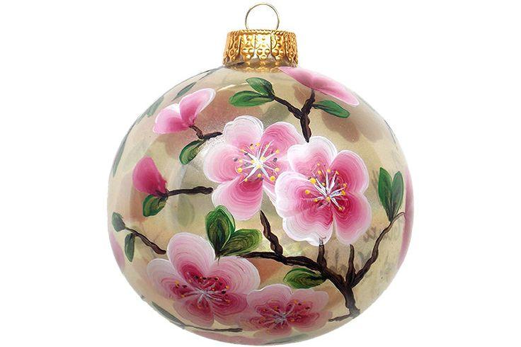 Handgeschilderde Christmas Ornament glas bal door HelensGiftStore