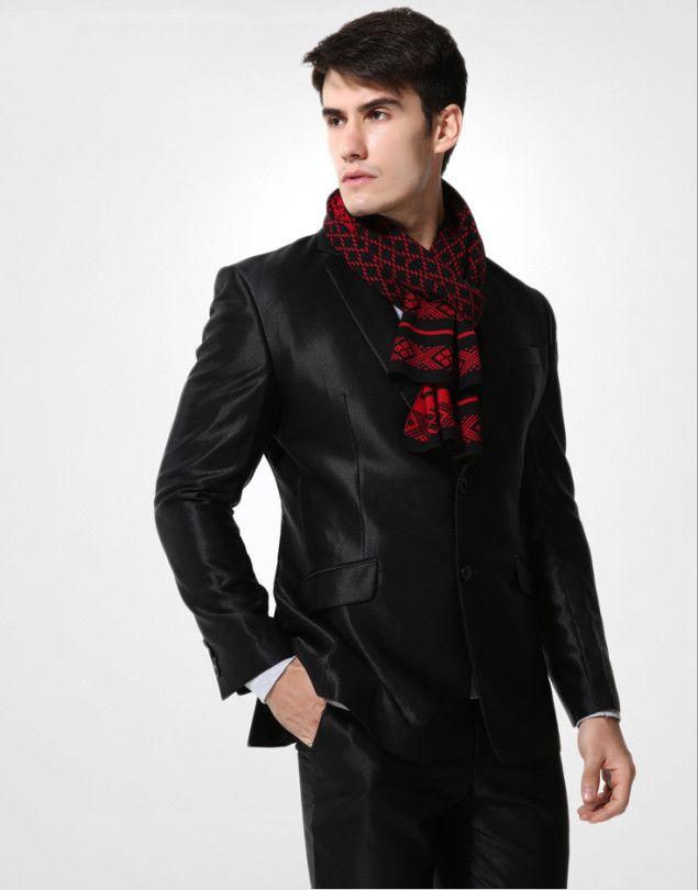 Elegantný pánsky šál z vlny a bavlny - Vzor 12