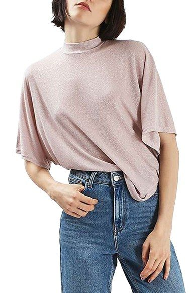 Free shipping and returns on Topshop Metallic Batwing Shirt at Nordstrom.com. A billowy cut and batwing sleeves define a laid-back knit top in a shimmering, metallic blush hue.