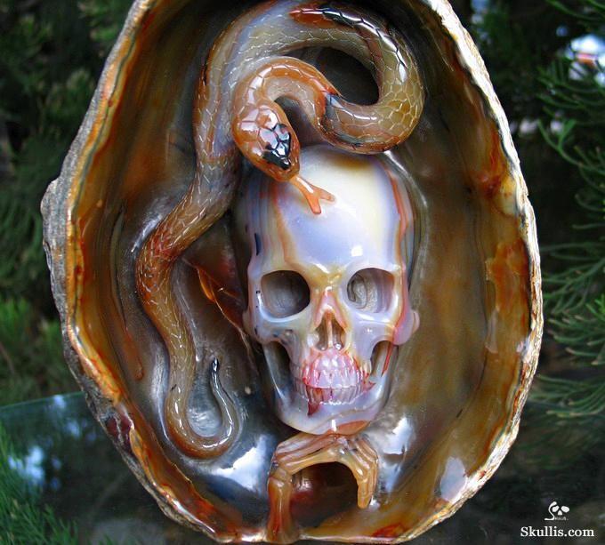 Agate Crystal Skull and Snake