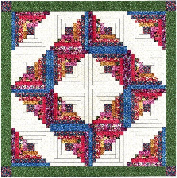 Ezy Quilt Kit/Summer Garden Log cabin Wreath/Pre-cut Fabrics Ready To Sew!!