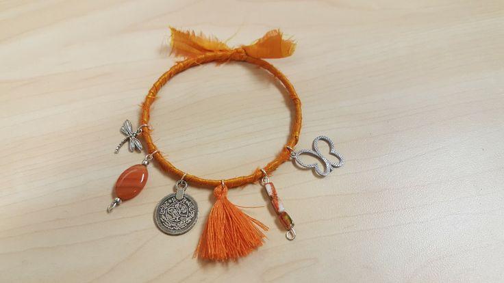 Bohemian Bracelet, Gypsy Bracelet, Boho Bangle Bracelet Wrapped Bracelets Vintage Gypsy Bracelet Orange Tassel, Gypsy coin by GoAmyJo on Etsy