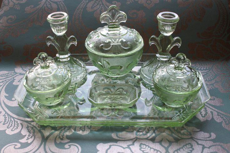 Art Deco 1930s Green Depression Glass Vanity Set.