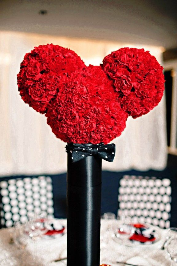 Mickey flower arrangement is this how we should do red