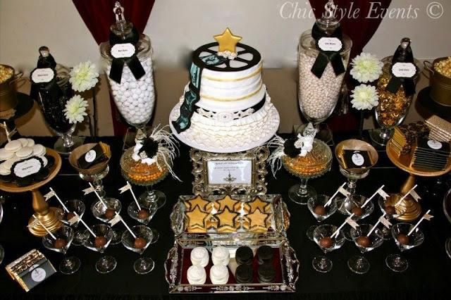 cake pops in martini glasses - star cookies - film reel cake  Old Hollywood Glam Party  by Chic Style Events