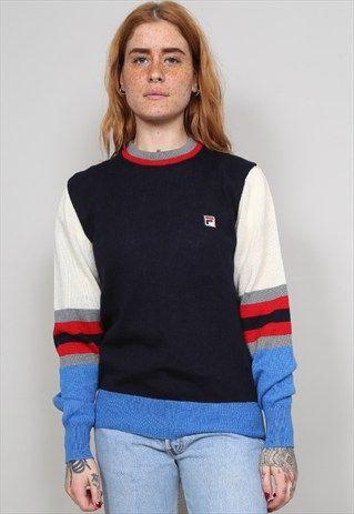 Vintage+80's+Fila+multi+coloured+jumper