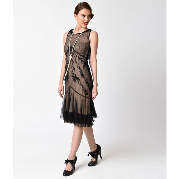 Vintage Style Onyx Black & Nude Mesh Tatianna Victorian Dress ($172) ❤ liked on Polyvore featuring dresses, vintage cocktail dresses, mesh dress, vintage looking dresses, vintage style dresses and ruched cocktail dress