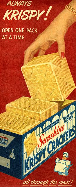 Crackers were four squares together: Saltine Crackers, Bologna Sandwiches, Vintage Observed, Parade Magazines, Vintage Baby Toys, Vintage Ads, Sunshine Crackers, Kids Toys, Wax Paper