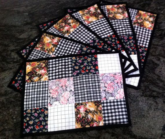 Handmade quilted patchwork place mats set of by ThreadfullyPretty
