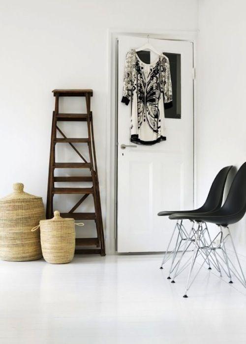 wood + black + white floors. #home