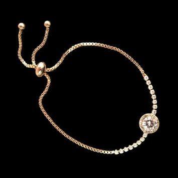 Женский браслет - Астрата  Золотой с белым камнем