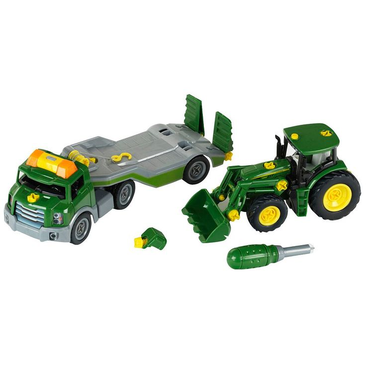 John Deere Take-A-Part Transporter & John Deere Take-A-Part Tractor Set by Theo Klein, Multicolor