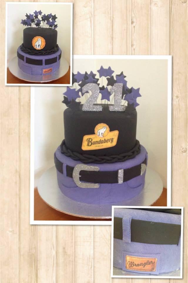 Purple Wranglers and Bundy Rum 21st Cake! www.facebook.com/EASYCAKEFUN