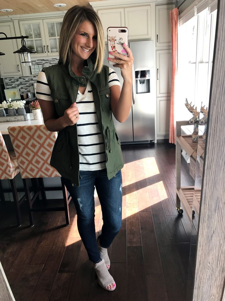 Utility vest paired with a striped v-neck tee, great spring or fall transitional outfit! Click on photo for direct links to shop!