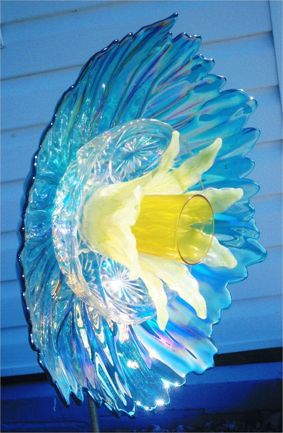 Items similar to Garden Decor Glass Plate Flower For Your Garden in Pearlized Baby Blue on Etsy
