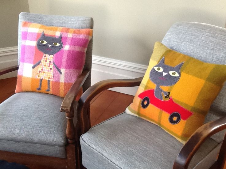 Girls and Boys upcycled blanket cushions