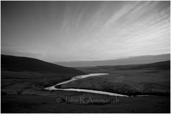 LATE LIGHT CRONFA. Cronfa, the last light before the Blue hour. captured in March and still a chill wind blows down the Elan valley on to the water feeding Lake Cronfa. A popular spot for sunset gazers and image makers.