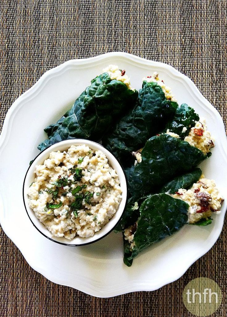 Raw Stuffed Kale Leaves with Mint Cashew Aioli...made with clean, real food ingredients and it's raw, vegan, gluten-free, dairy-free, paleo-friendly and contains no refined sugar | The Healthy Family and Home