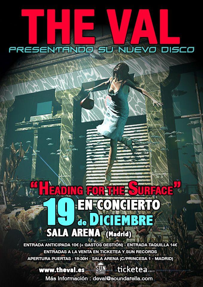 """Cartel del Concierto de Presentación del nuevo disco """" Heading for the Surface""""Sala Arena Madrid. 19.12.14"""