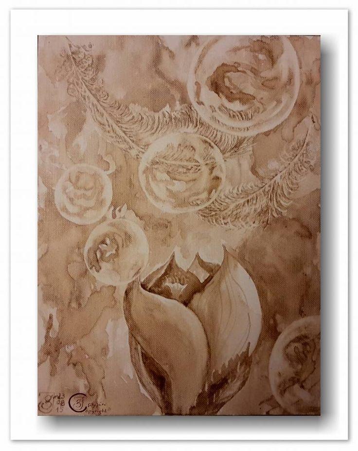 """Habe die aus dem 18. Jahrhundert stammende und vorwiegend in Frankreich ausgeübte """"Kaffeemalerei"""" für mich entdeckt. Damals, als die Kaffeehauskultur in Europa ihren Einzug nahm und Farbpigmente  überaus teuer waren, verwendeten viele Künstler Kaffeepulver als Farbpigment. Leider mit mäßigem Erfol..."""