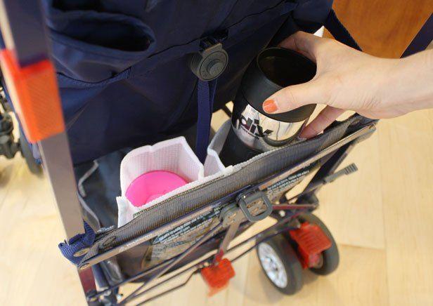 DIY hack stroller cup holders