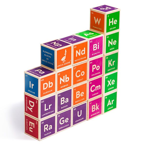 Get your learning on with these solid wood building blocks printed with the elements of the periodic table. Only real elements too, none of that unobtanium BS from a certain 3D movie. Build a smarter baby.
