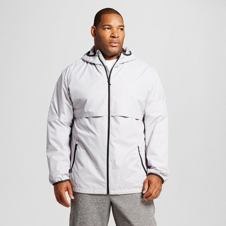 Men's Big & Tall Sizes Packable Water Resistant Jacket Gray 2XLT - C9 Champion, Size: Xxl Tall, Gray Afternoon
