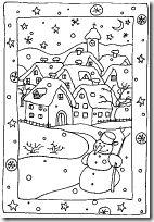Colorear Paisajes navideños dibujos