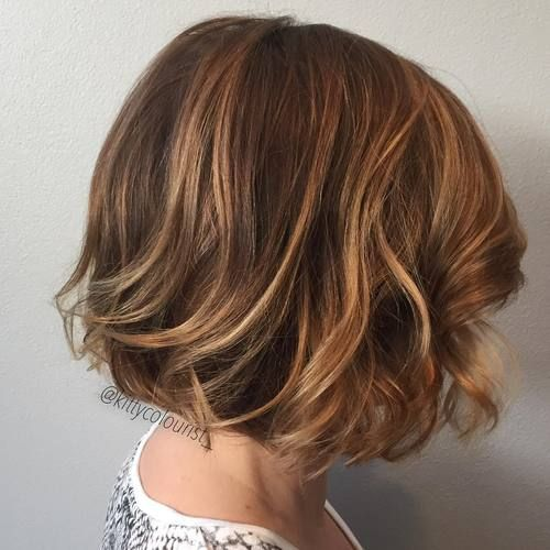 #6: Wavy brunette bob with caramel highlights  Just because you have short hair, doesn't mean you can't join in on the fun. To freshen up your look – and try something new, consider balayage with honey-blonde colors. Make it even more dynamic with loose, barely-there waves.