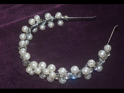 Tiara de strass e pérolas - YouTube