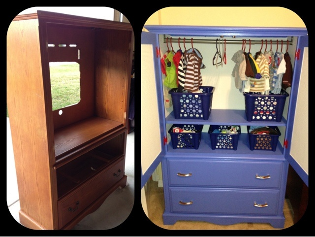 """before and after"" TV armoire"